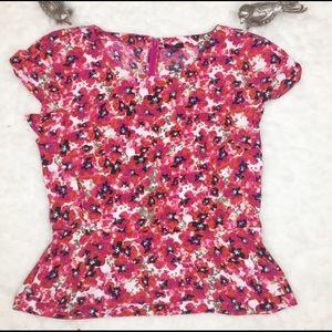 Ann Taylor Short Sleeve Floral Blouse Size 6